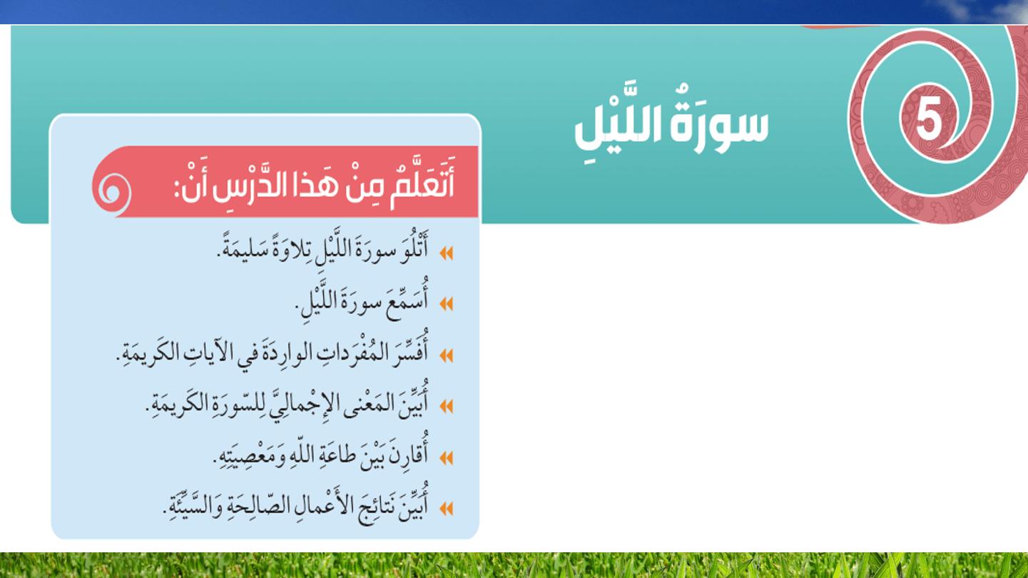 حل درس سورة الليل الصف الثالث مادة التربية الاسلامية - بوربوينت