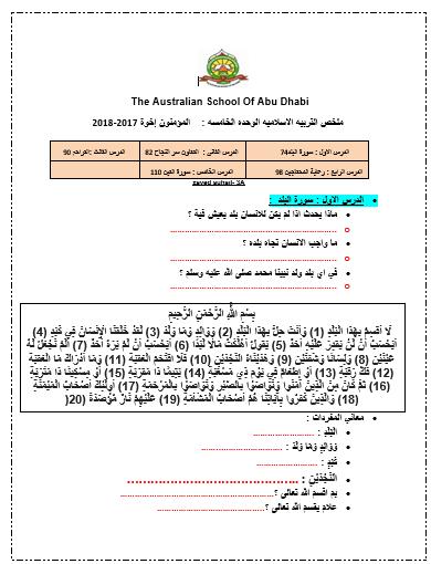 التربية الإسلامية أوراق عمل سورة البلد التعاون سر النجاح التراحم رعاية المتحاجين سورة التين للصف الثالث ملفاتي