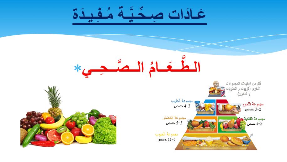 اللغة العربية بوربوينت درس الطعام الصحي لغير الناطقين بها للصف السادس ملفاتي