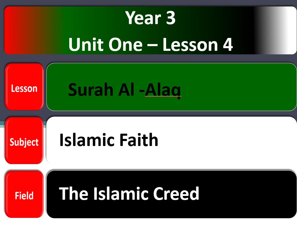 بوربوينت سورة العلق لغير الناطقين باللغة العربية للصف الثالث مادة التربية الاسلامية