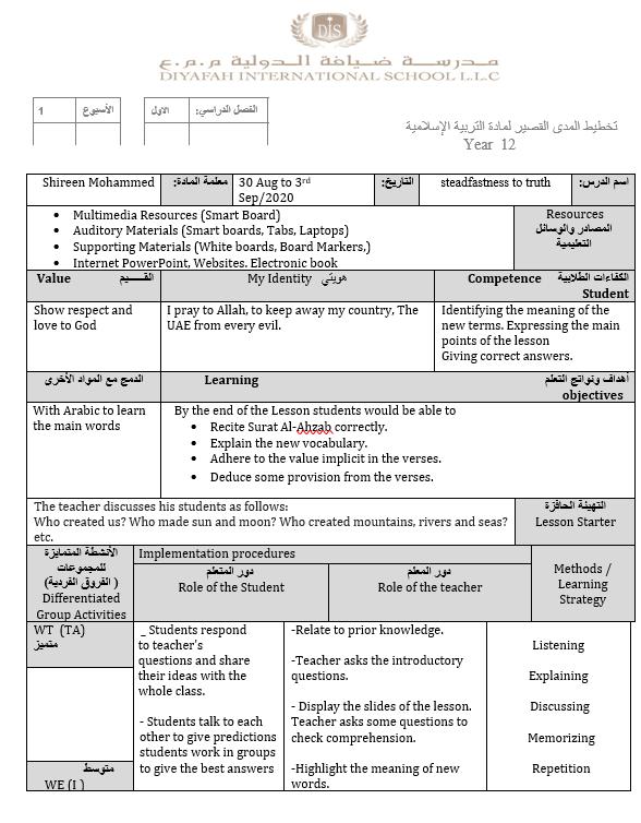 تخطيط المدى القصير steadfastness to truth لغير الناطقين باللغة العربية للصف الحادي عشر مادة التربية الاسلامية