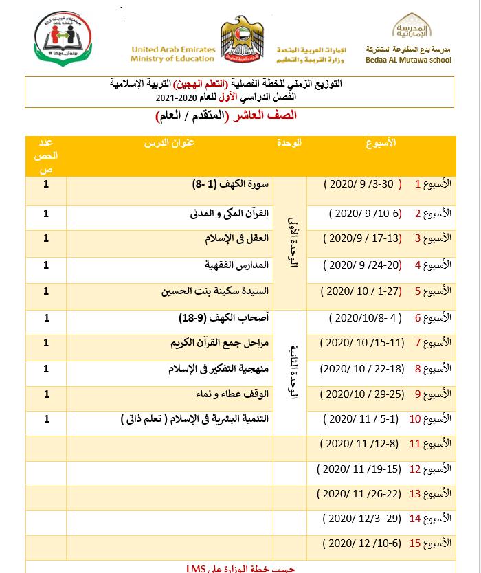 التوزيع الزمني للخطة الفصلية التعلم الهجين للصف العاشر مادة التربية الاسلامية