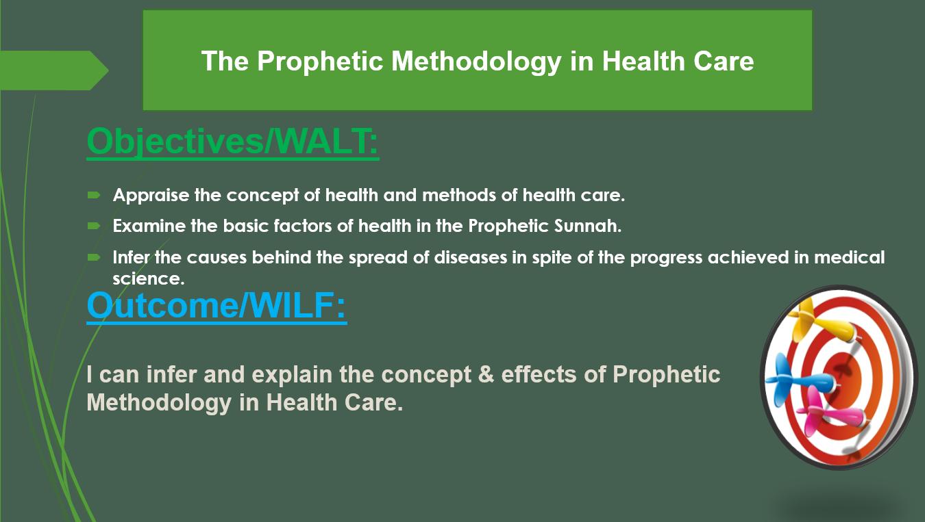 بوربوينت The Prophetic Methodology in Health Care لغير الناطقين باللغة العربية للصف الثاني عشر مادة التربية الاسلامية