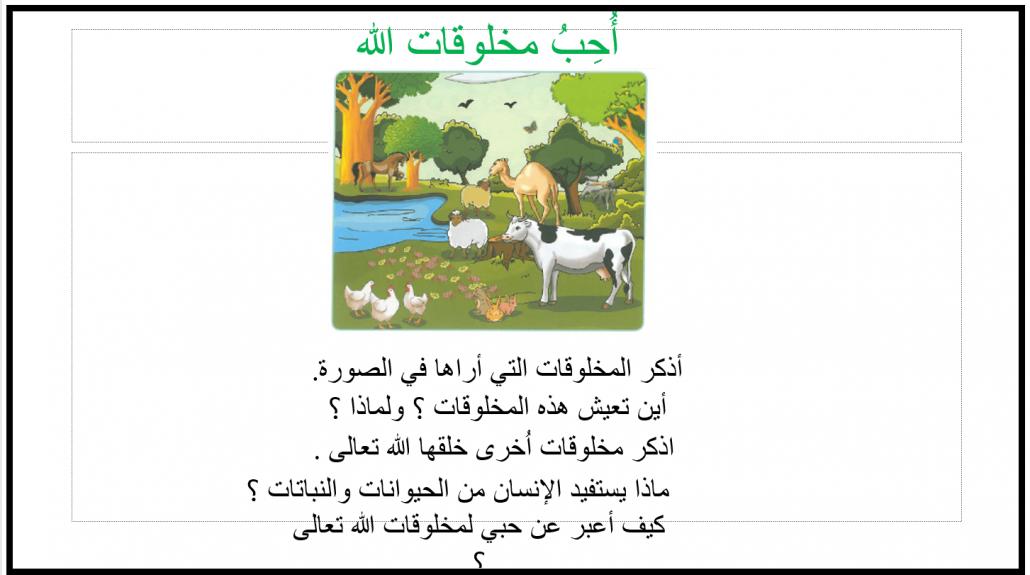 بوربوينت درس احب مخلوقات ربي للصف الاول مادة التربية الاسلامية