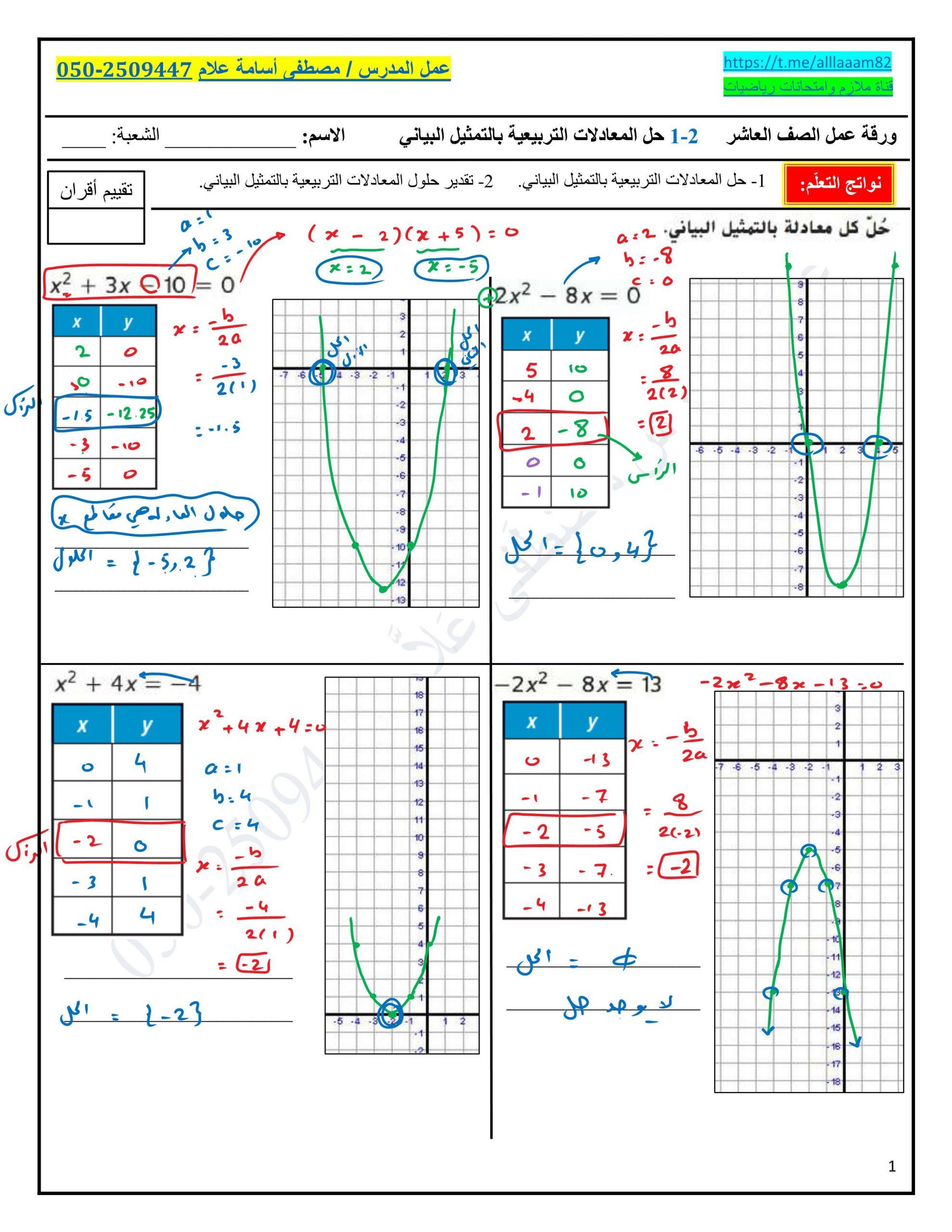 ورقة عمل حل المعادلات التربيعية بالتمثيل البياني مع الاجابات للصف العاشر مادة الرياضيات المتكاملة