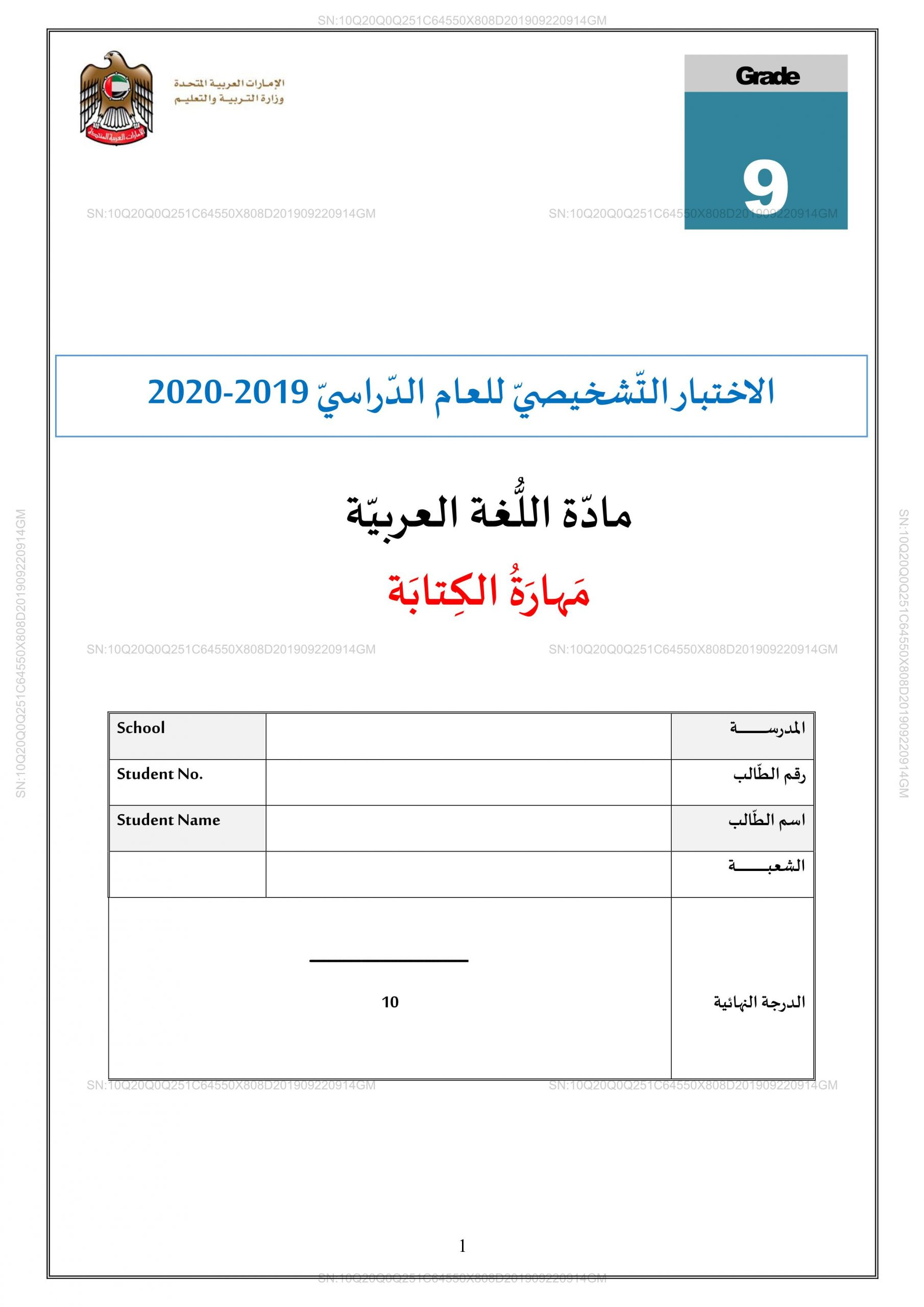 الاختبار التشخيصي مهارة الكتابة للصف التاسع مادة اللغة العربية