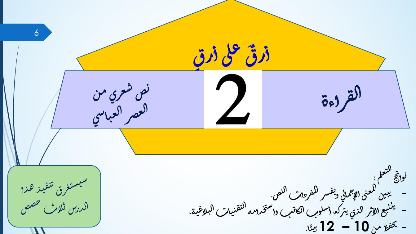بوربوينت درس ارق على ارق للصف الثاني عشر مادة اللغة العربية
