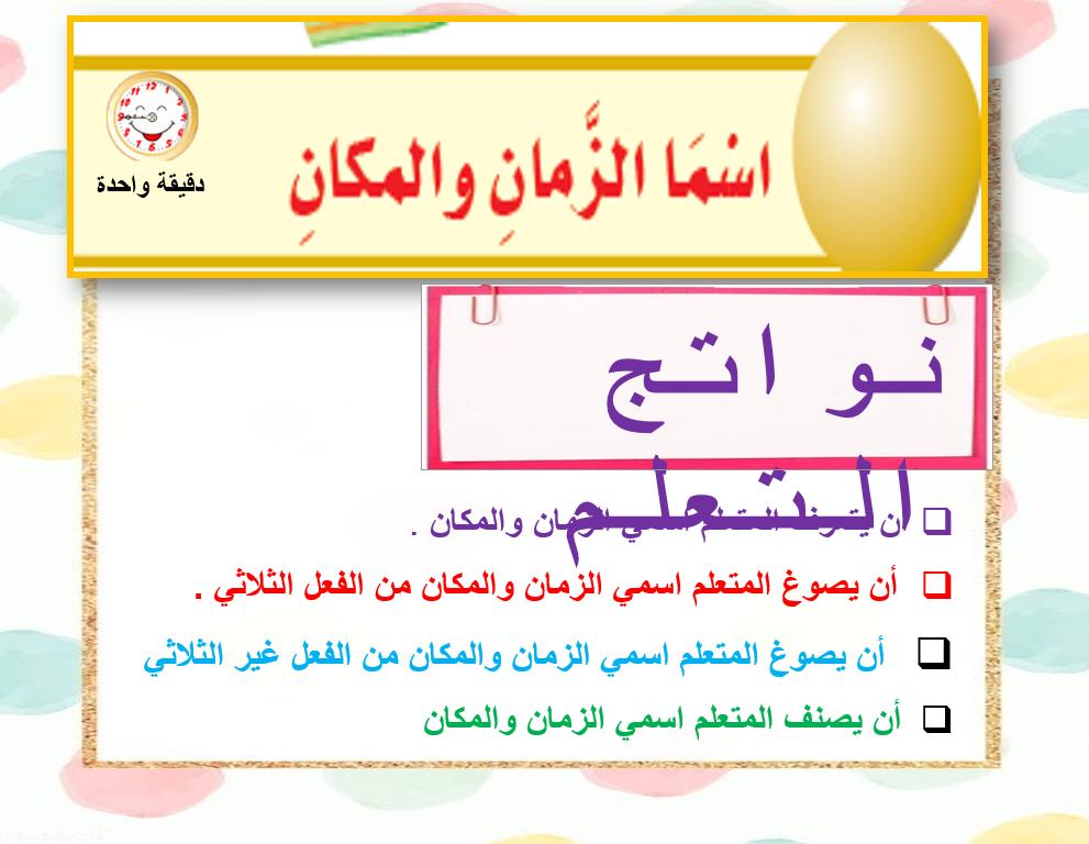 بوربوينت درس اسما الزمان والمكان للصف الثاني عشر مادة اللغة العربية