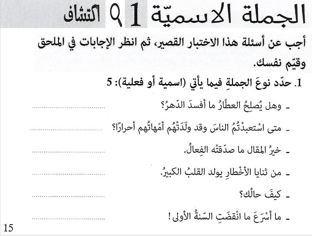 بوربوينت شرح الجملة الاسمية للصف الثاني عشر مادة اللغة العربية