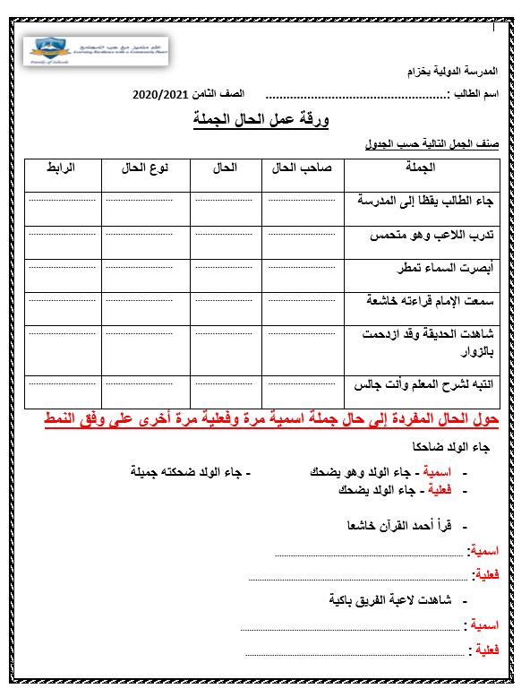 ورقة عمل متنوعة الحال الجملة للصف الثامن مادة اللغة العربية