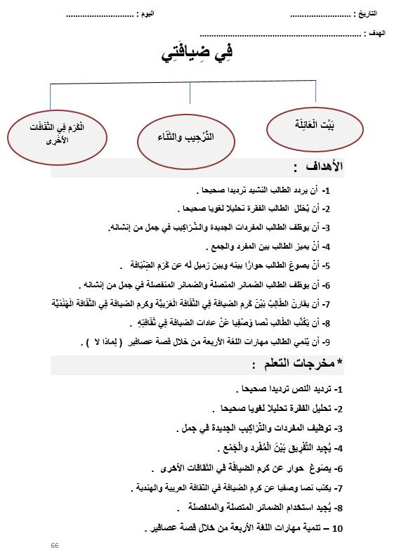 اوراق عمل في ضيافتي لغير الناطقين بها للصف الرابع مادة اللغة العربية