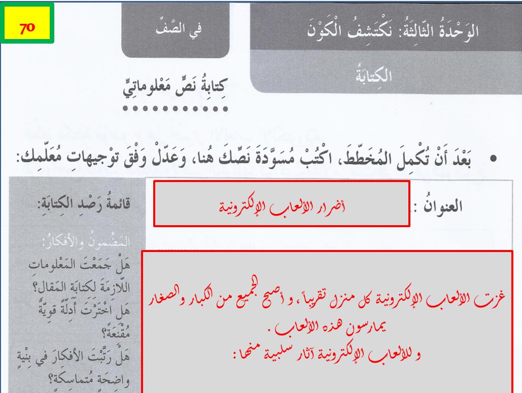 بوربوينت كتاب النشاط درس كتابة للصف الخامس مادة اللغة العربية