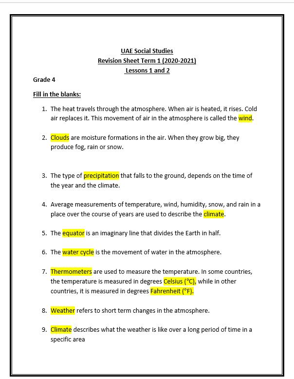 مراجعة Lessons 1 and 2 لغيرالناطقين باللغة العربية الصف الرابع مادة الدراسات الاجتماعية والتربية الوطنية