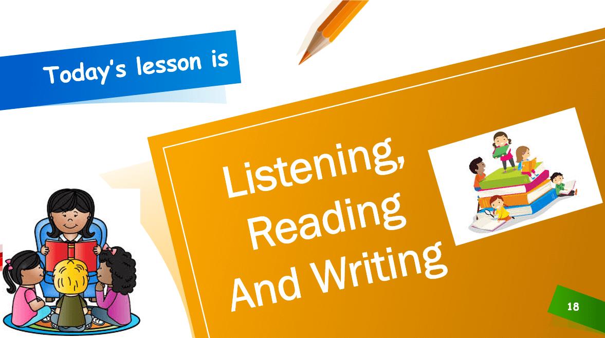 درس Listening Reading And Writing الصف الاول مادة اللغة الانجليزية - بوربوينت