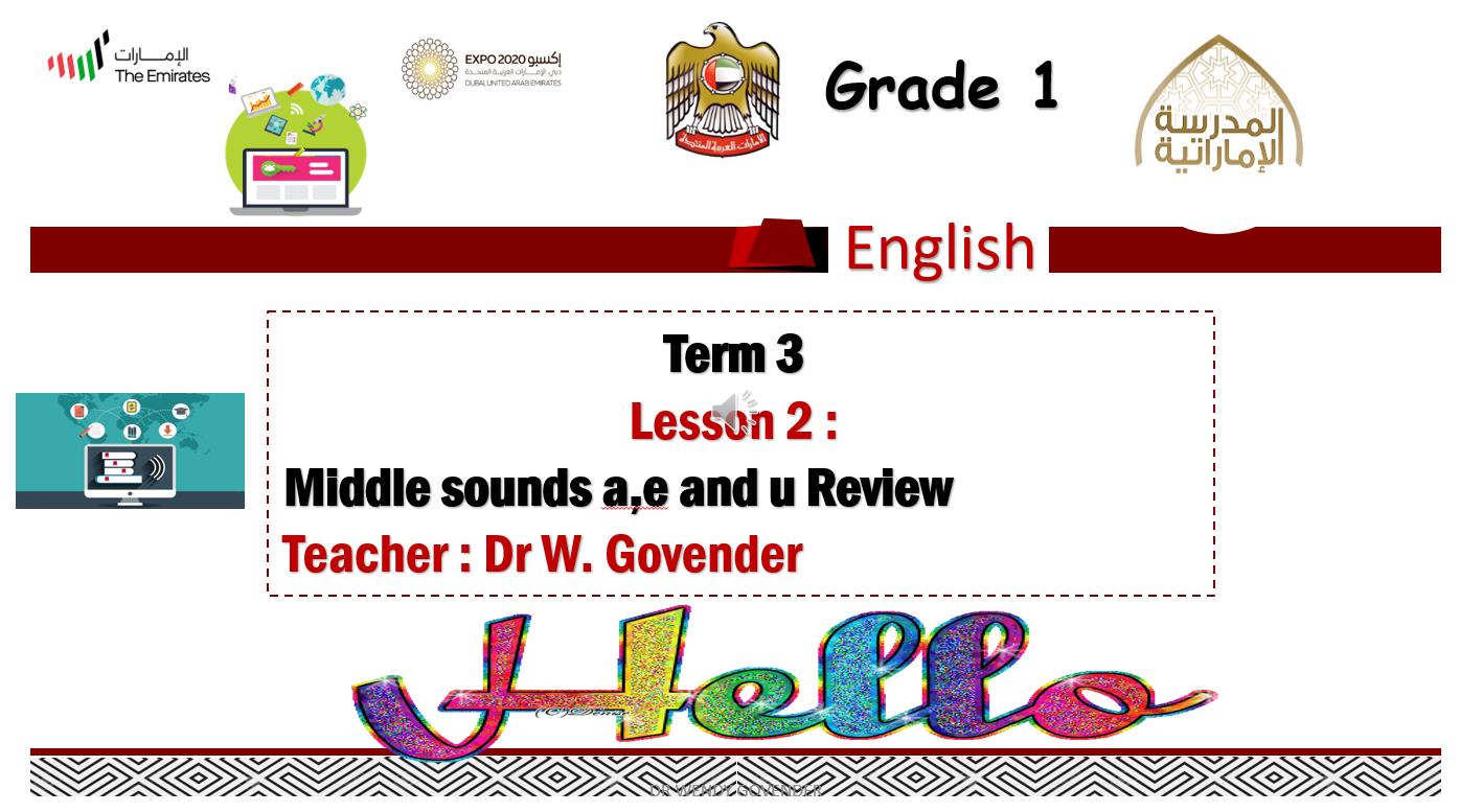 Middle sounds a,e and u Review الصف الاول مادة اللغة الانجليزية - بوربوينت