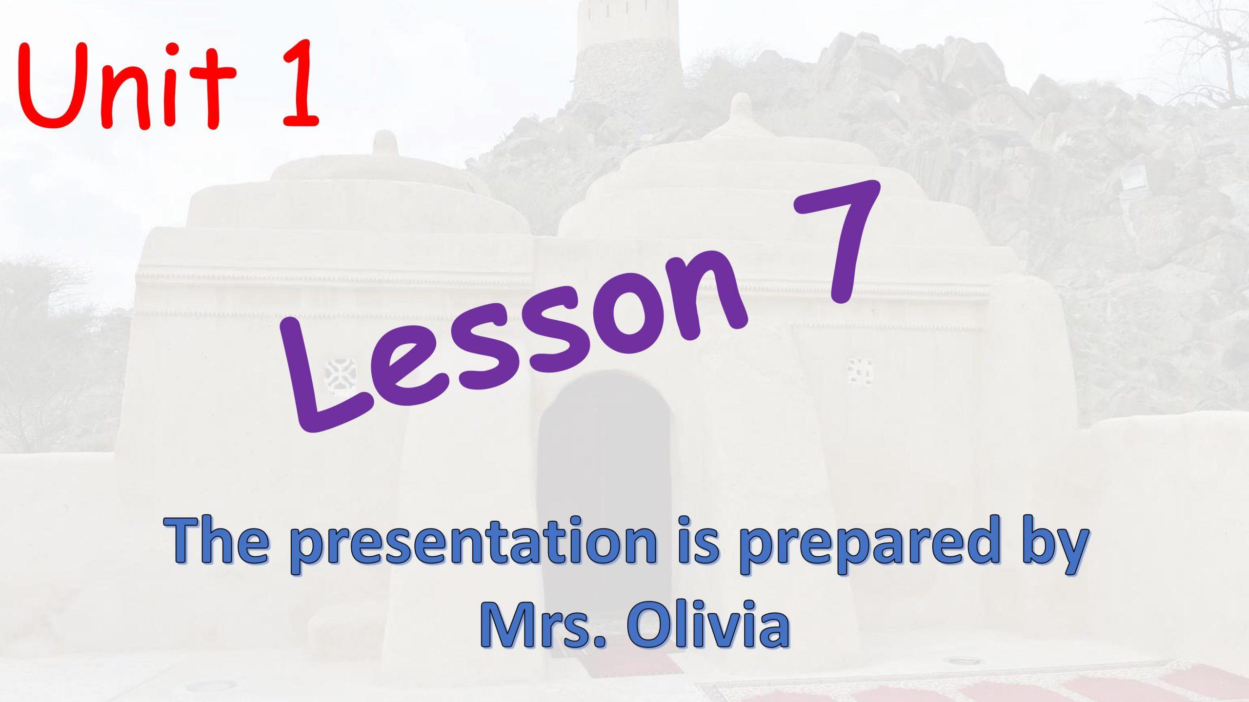 درس Unit 1 Lesson 7 الصف الخامس مادة اللغة الانجليزية