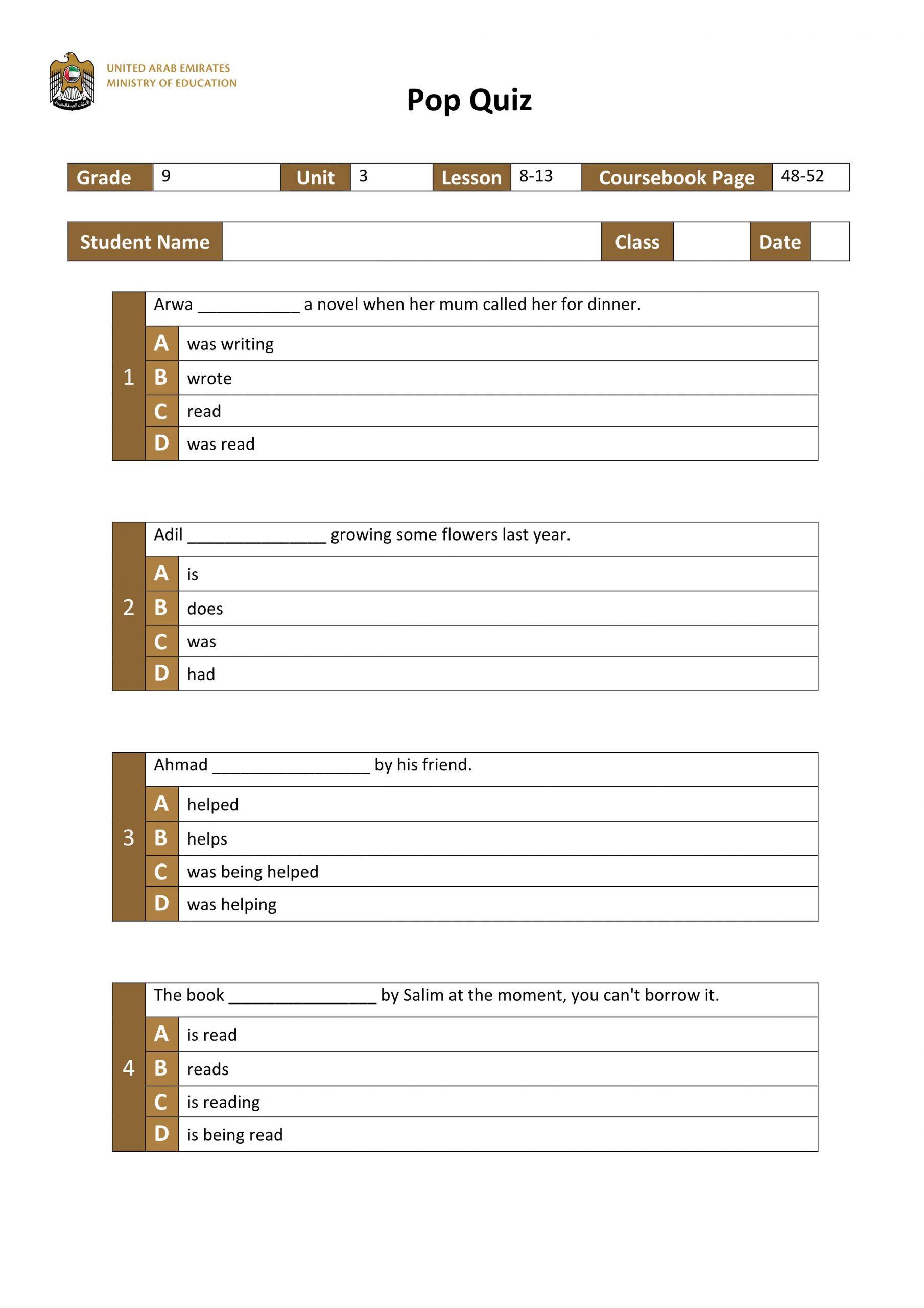 اوراق عمل Unit 3 Lesson 8-13 الصف التاسع مادة اللغة الانجليزية