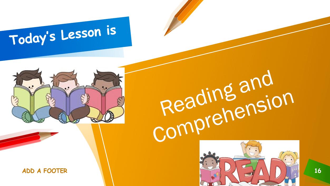 Reading and Comprehension الصف الاول مادة اللغة الانجليزية - بوربوينت