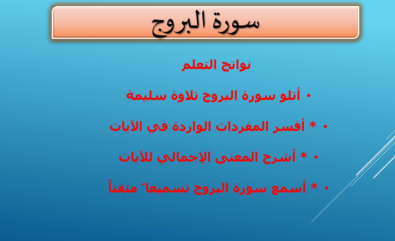 درس سورة البروج الصف الرابع مادة التربية الاسلامية - بوربوينت
