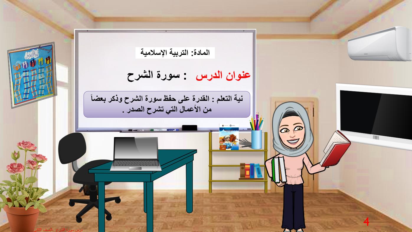 سورة الشرح الصف الثاني مادة التربية الاسلامية - بوربوينت