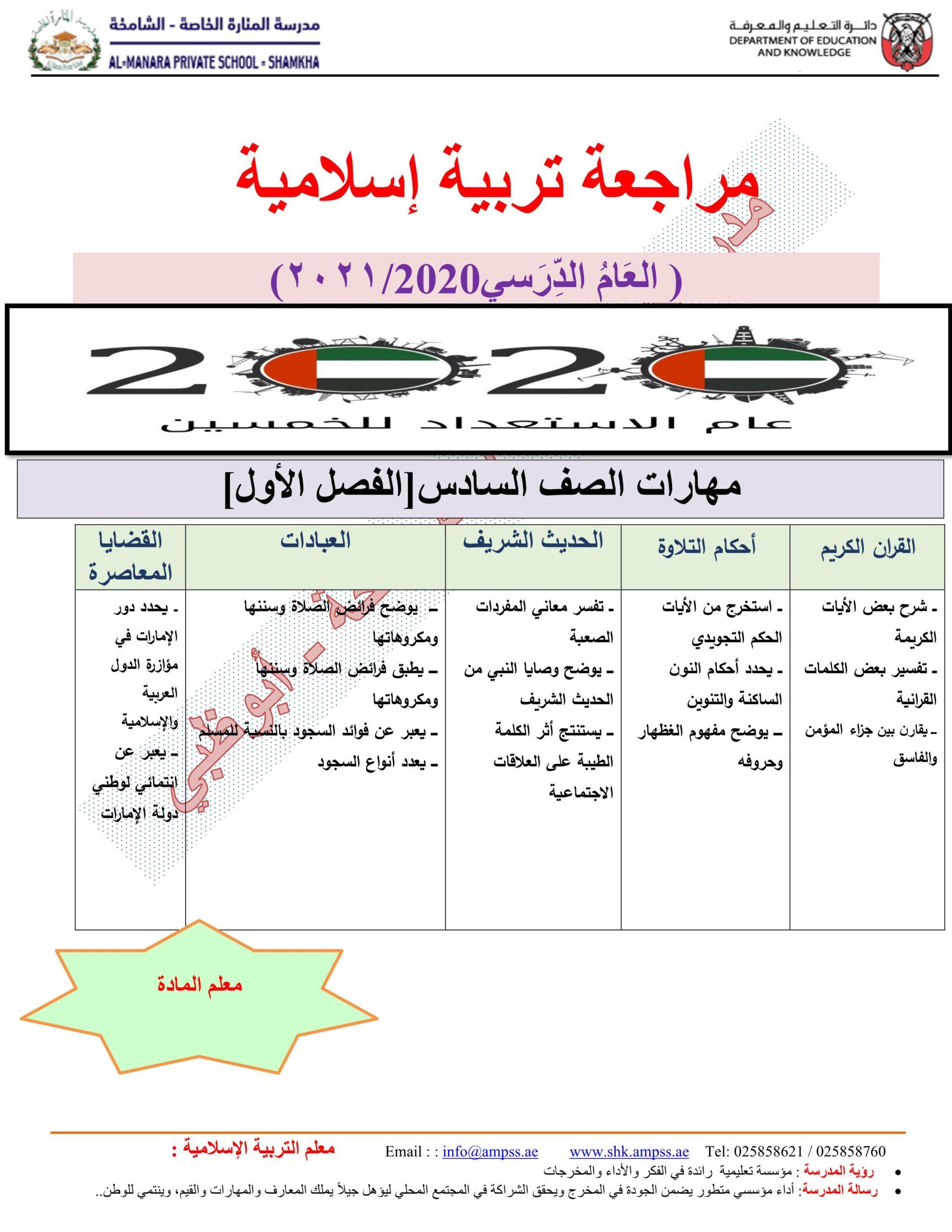 اوراق عمل مراجعة عامة الصف السادس مادة التربية الاسلامية