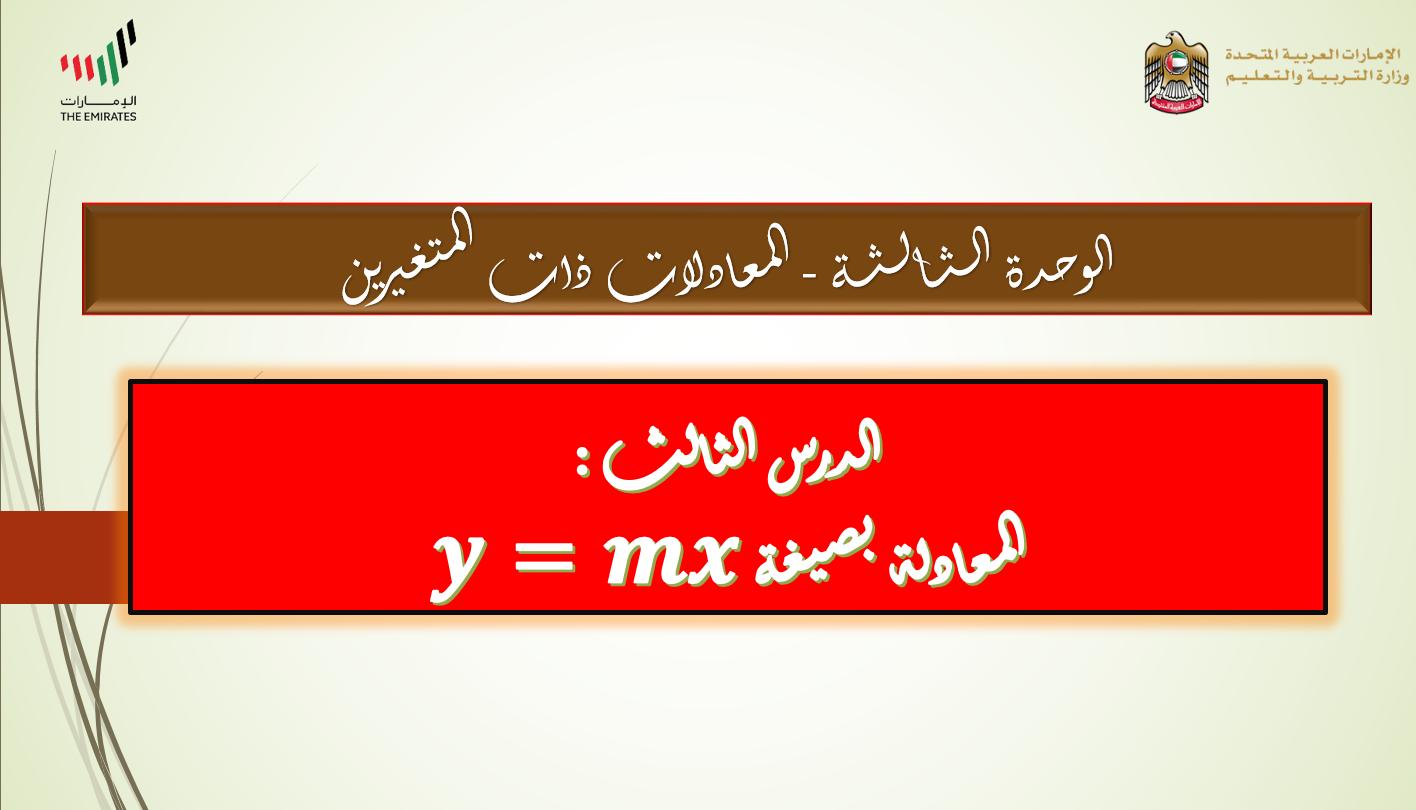 درس المعادلة بصيغة 𝒚=𝒎𝒙 الصف الثامن مادة الرياضيات المتكاملة - بوربوينت