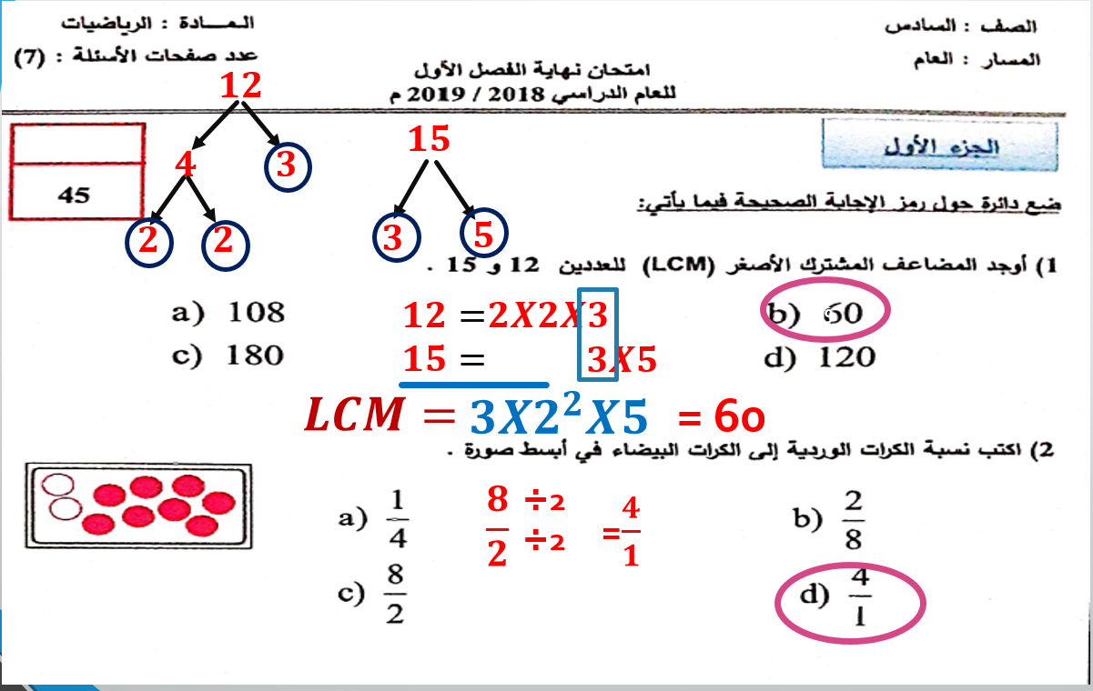 حل امتحانات سابقة الصف السادس مادة الرياضيات المتكاملة - بوربوينت
