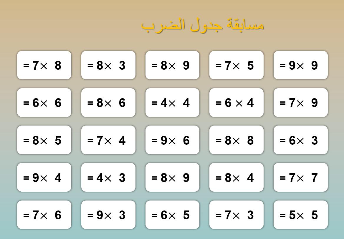 لعبة مسابقة جدول الضرب الصف الثالث مادة الرياضيات المتكاملة - بوربوينت