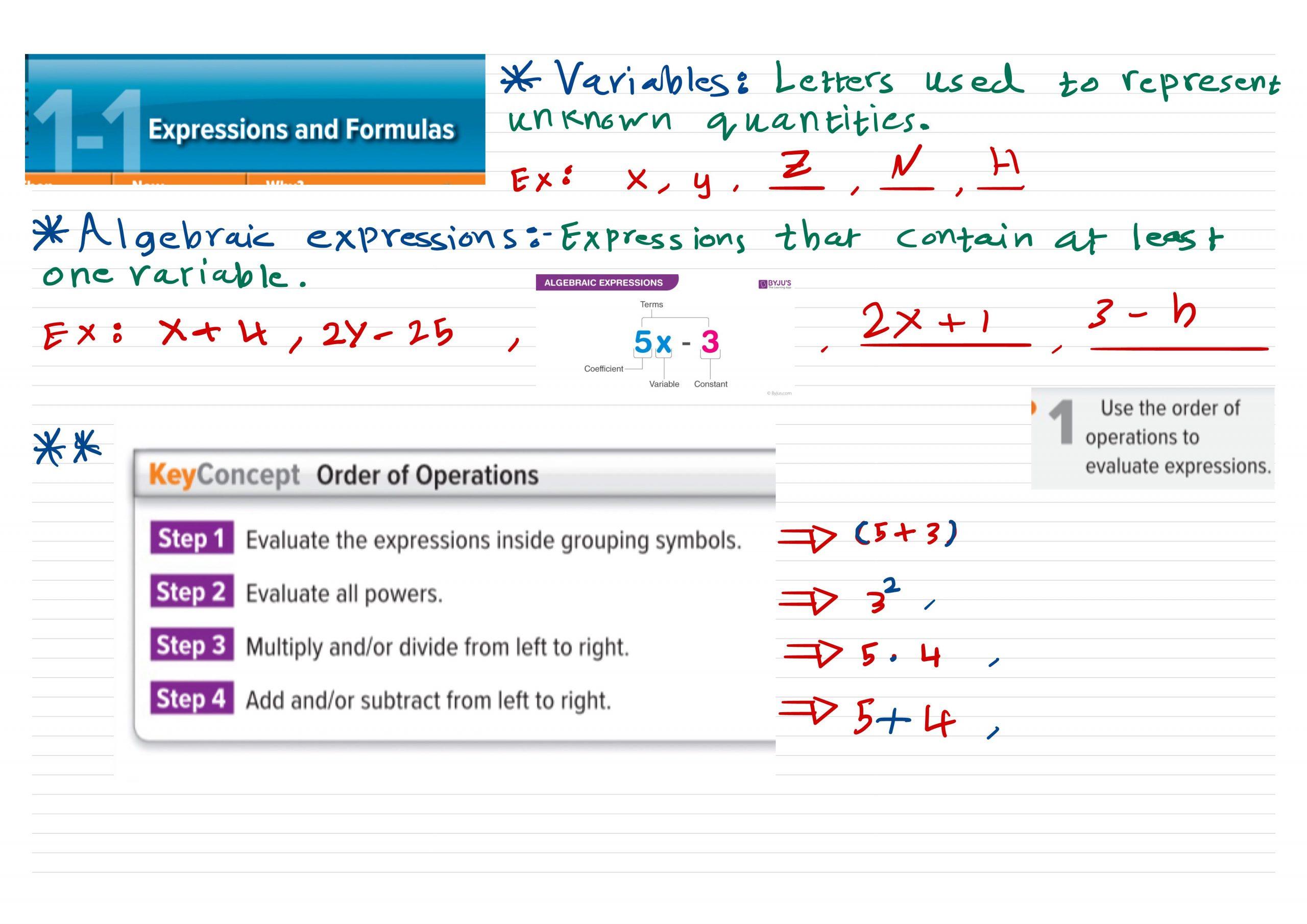 شرح الوحدة الاولى والثانية بالانجليزي الصف الحادي عشر مادة الرياضيات المتكاملة
