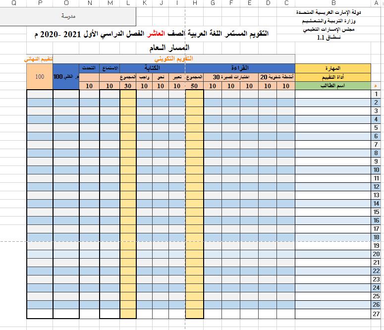 التقويم المستمر الفصل الدراسي الأول 2021 -2020 الصف العاشر مادة اللغة العربية