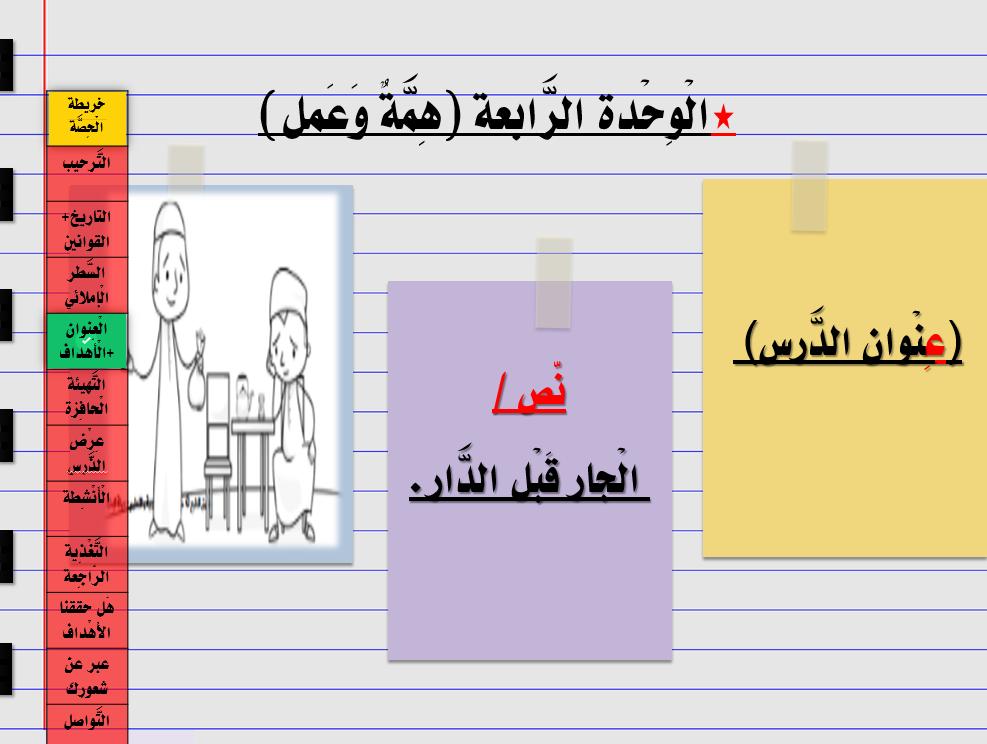 درس الجار قبل الدار الصف الثاني مادة اللغة العربية - بوربوينت