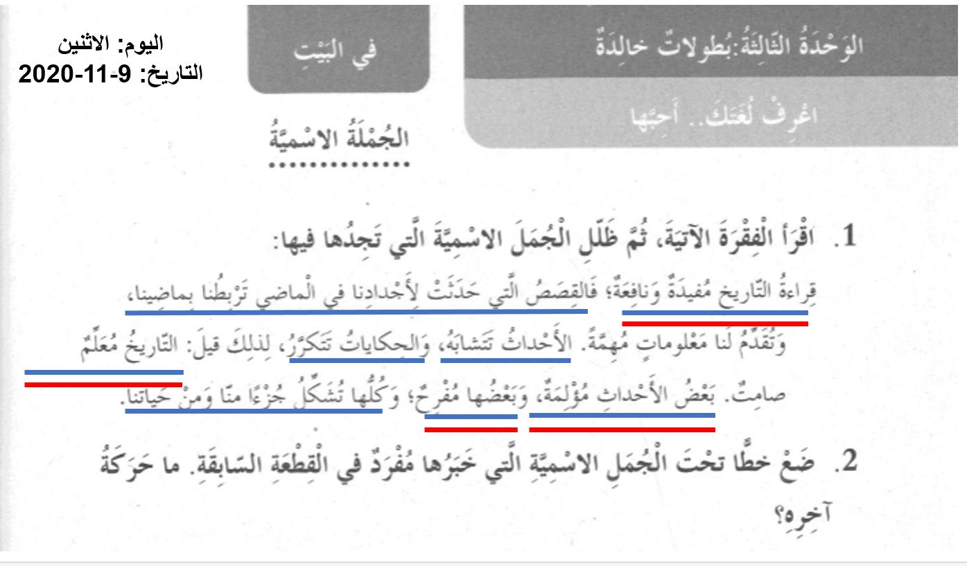 حل درس الجملة الاسمية الصف الرابع مادة اللغة العربية - بوربوينت