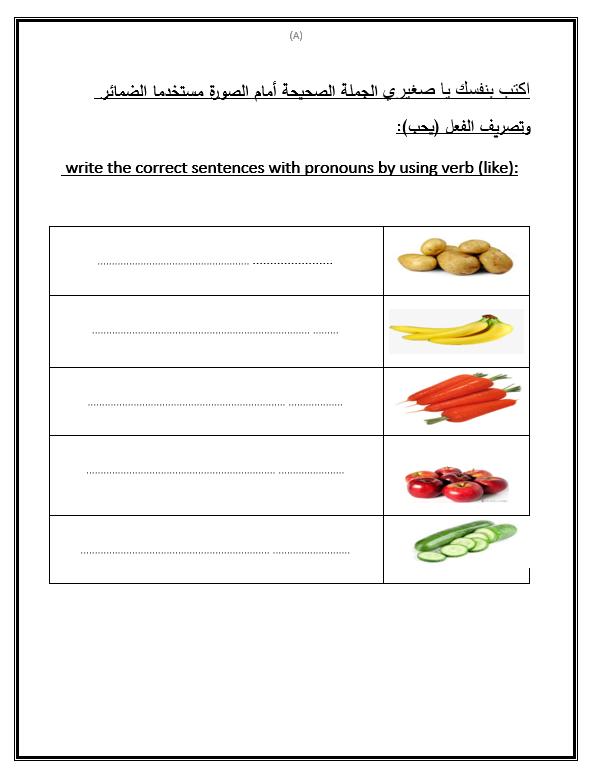 اوراق عمل الخضروات والفواكه لغير الناطقين بها الصف السادس مادة اللغة العربية