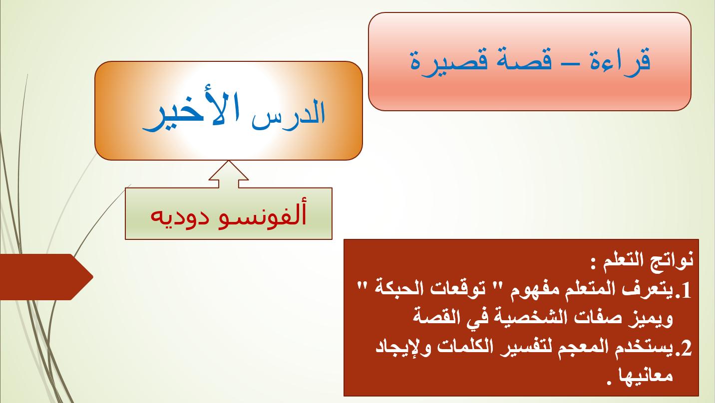 الدرس الاخير قصة قصيرة الصف التاسع مادة اللغة العربية - بوربوينت