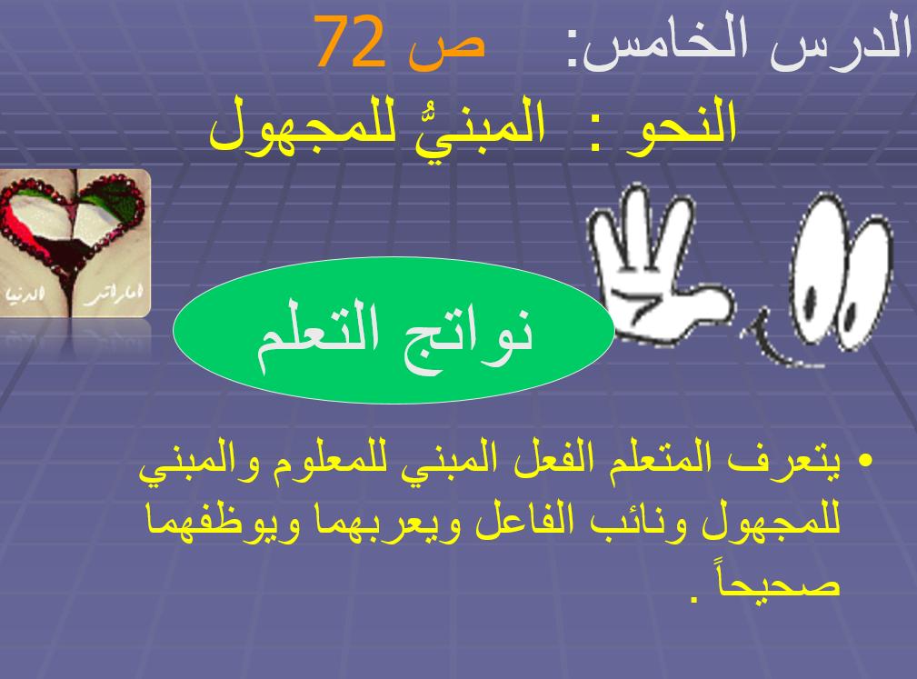 المبني للمجهول الصف السابع مادة اللغة العربية - بوربوينت