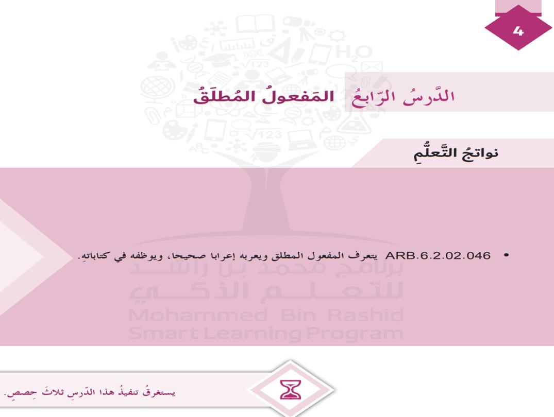 حل درس المفعول المطلق الصف السادس مادة اللغة العربية - بوربوينت