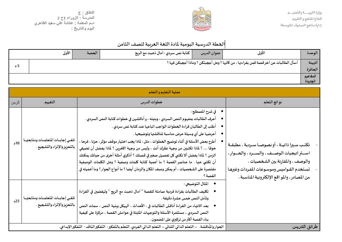 امال ذهبت مع الريح الخطة الدرسية اليومية الصف الثامن مادة اللغة العربية