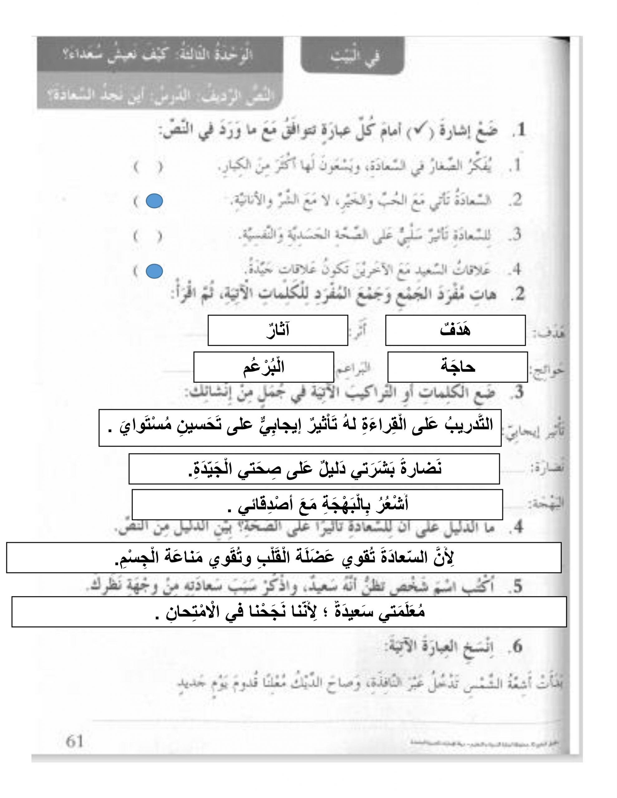 حل اين نجد السعادة كتاب النشاط الصف الثالث مادة اللغة العربية