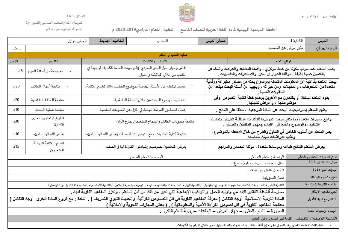 درس الغضب الخطة الدرسية اليومية الصف التاسع مادة اللغة العربية