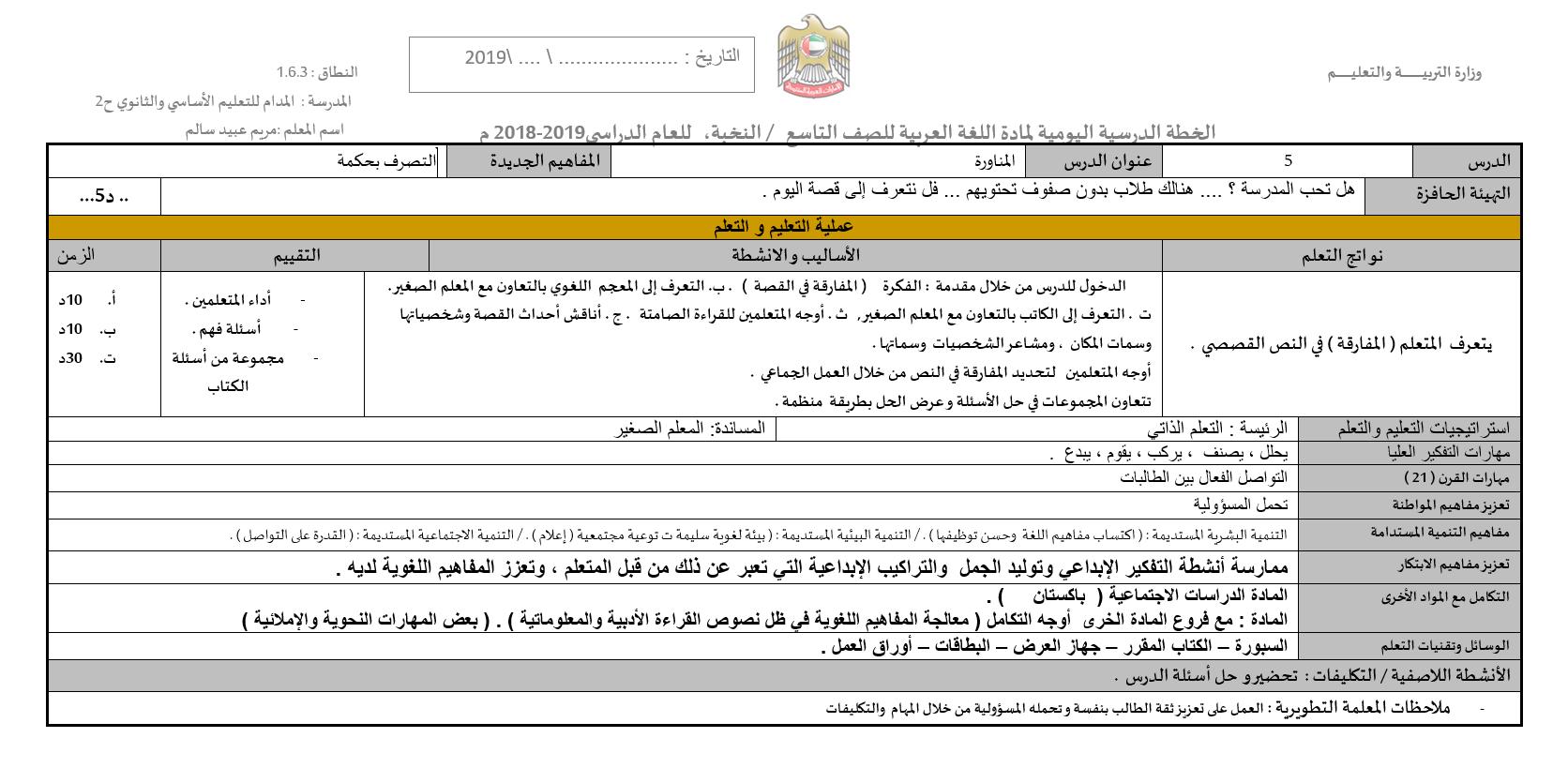 المنارة الخطة الدرسية اليومية الصف التاسع مادة اللغة العربية