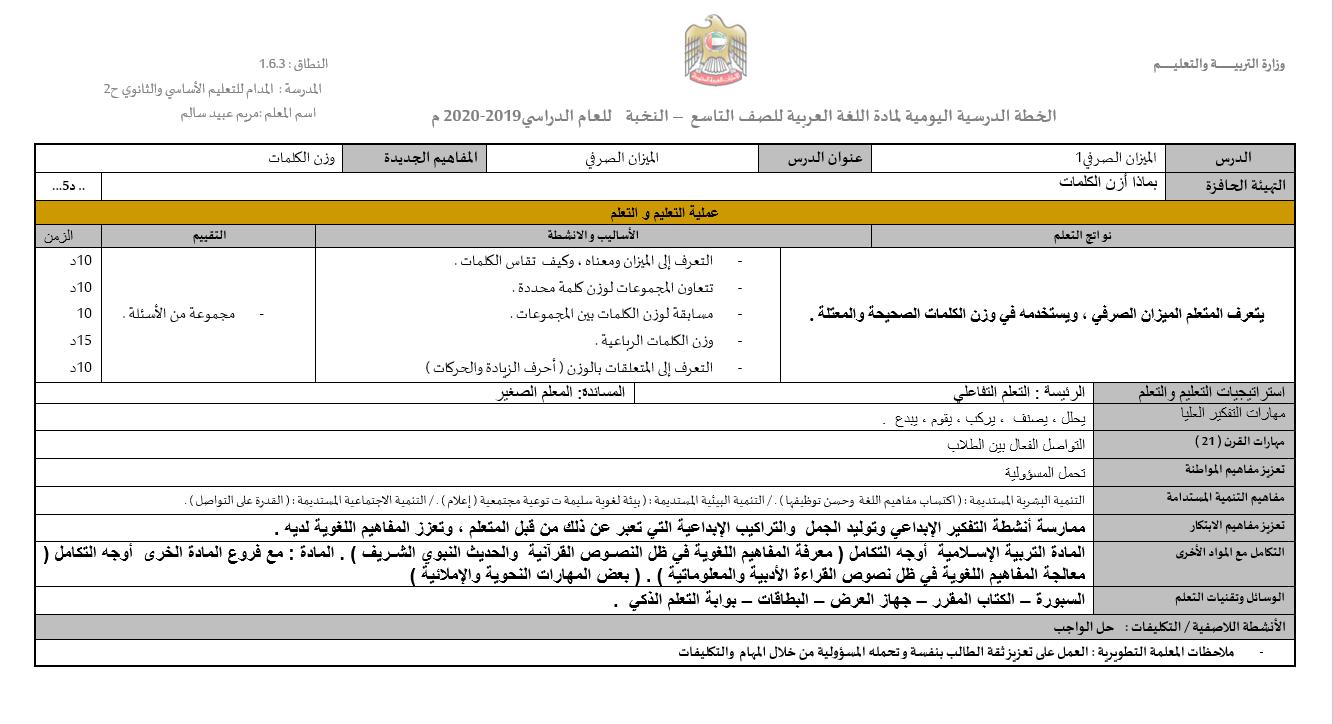 الميزان الصرفي الخطة الدرسية اليومية الصف التاسع مادة اللغة العربية