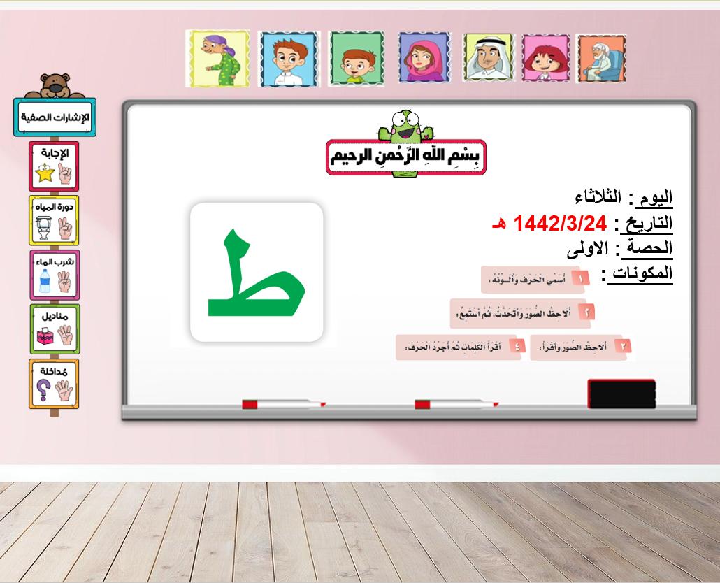 درس حرف الطاء الصف الاول مادة اللغة العربية - بوربوينت