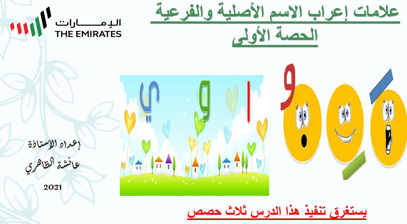 علامات اعراب الاسم الاصلية والفرعية الصف السابع مادة اللغة العربية