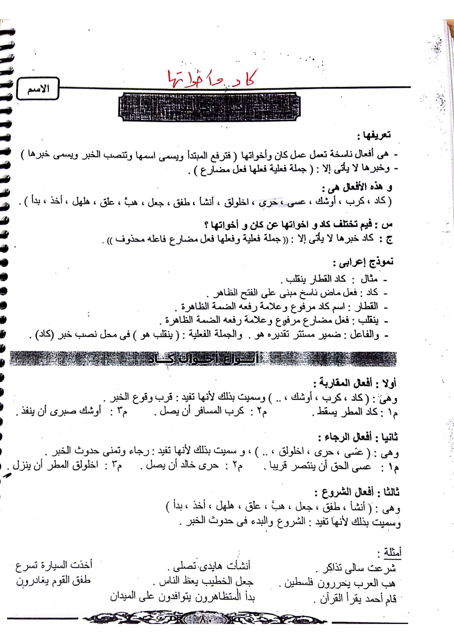 ملخص درس كاد واخواتها الصف الثاني عشر مادة اللغة العربية