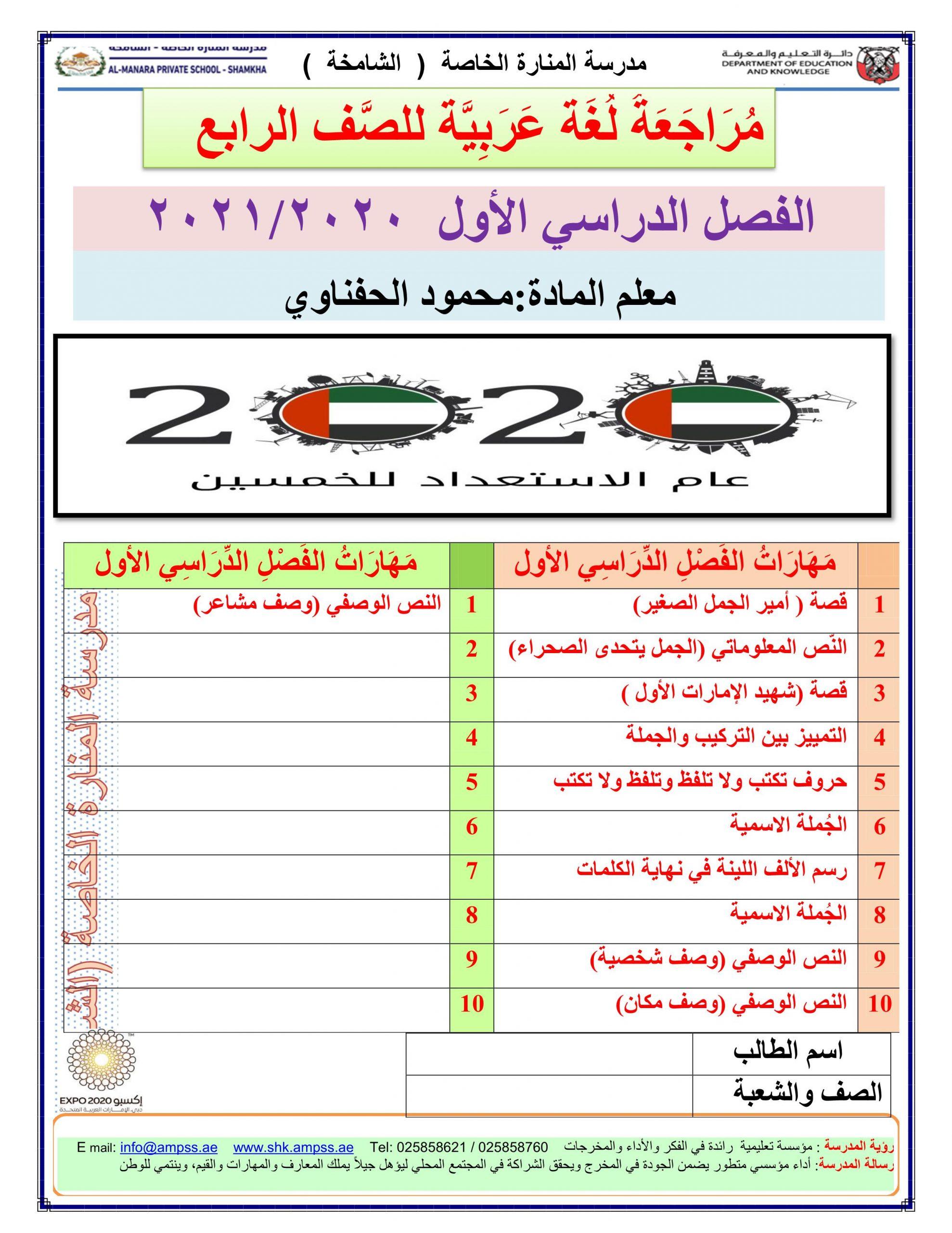 اوراق عمل متنوعة مراجعة نهائية الصف الرابع مادة اللغة العربية