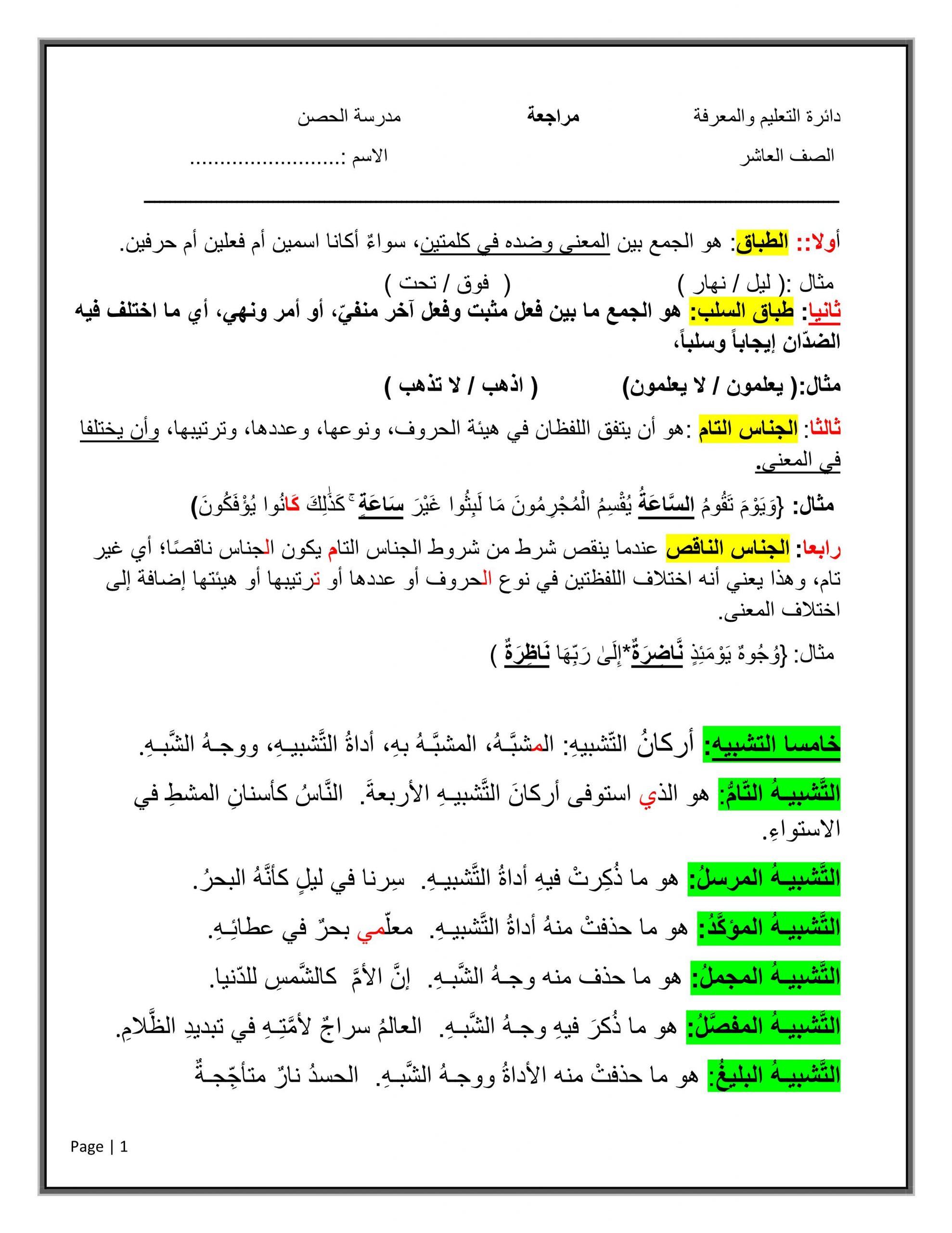شرح واوراق عمل مراجعة الصف العاشر مادة اللغة العربية