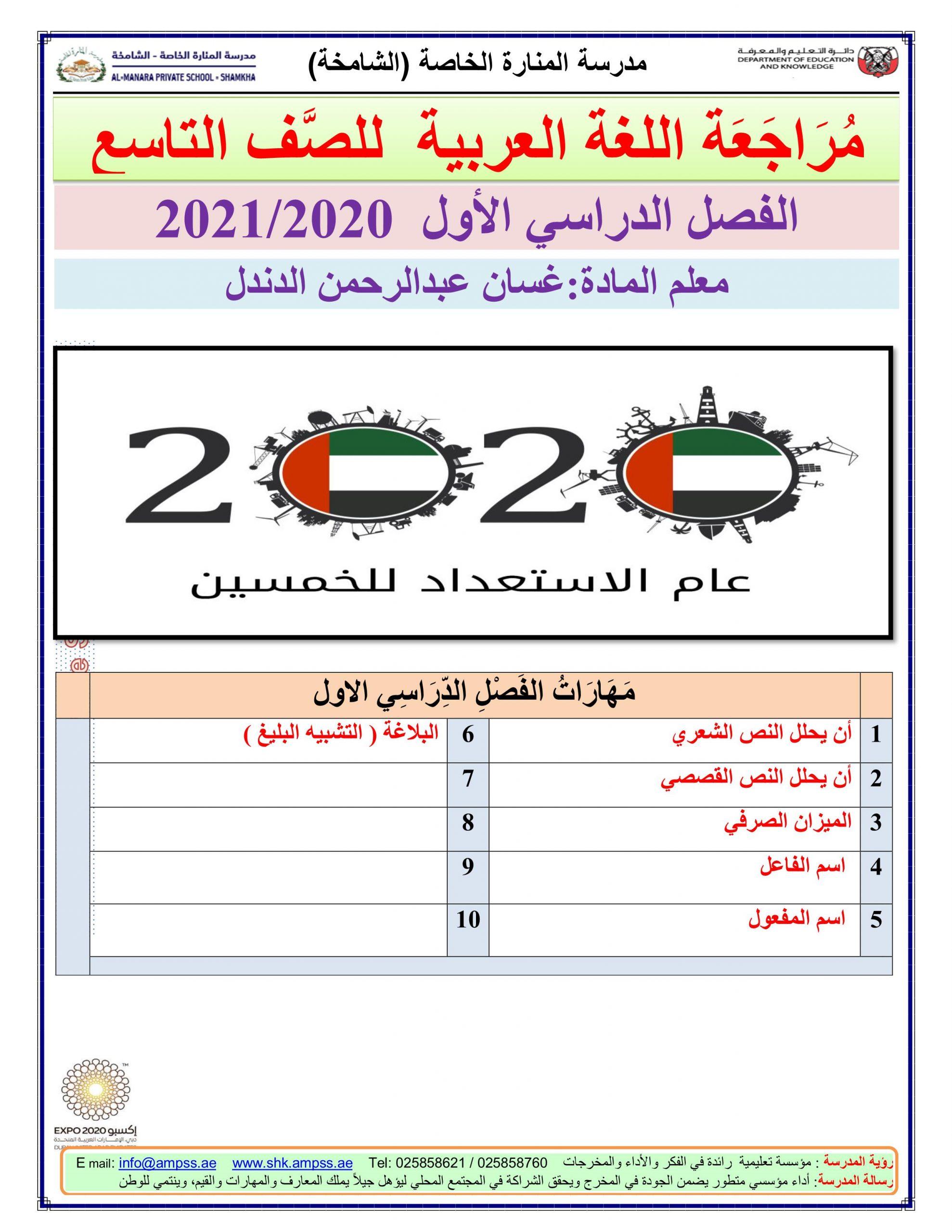 اوارق عمل متنوعة مراجعة نهائية الصف التاسع مادة اللغة العربية