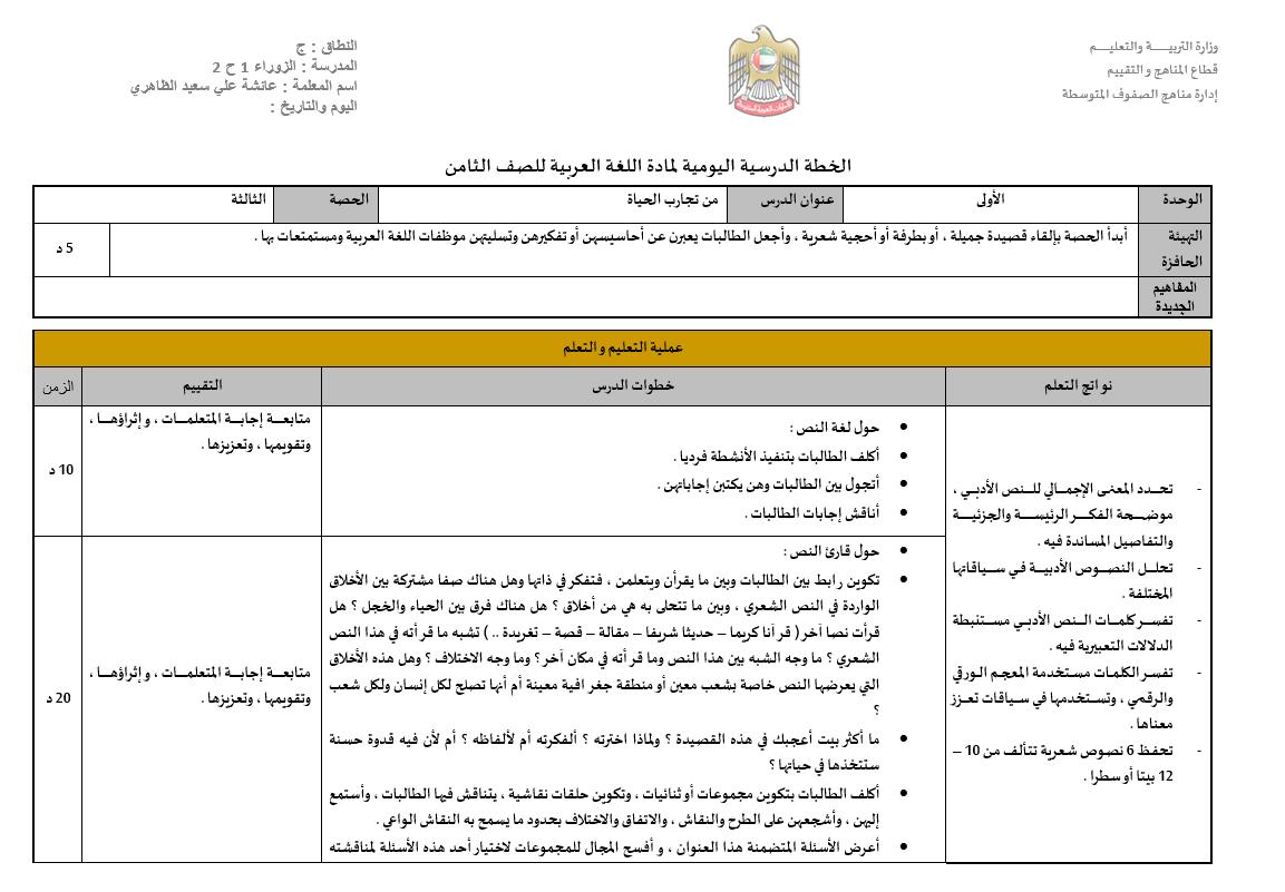 من تجارب الحياة الخطة الدرسية اليومية الصف الثامن مادة اللغة العربية