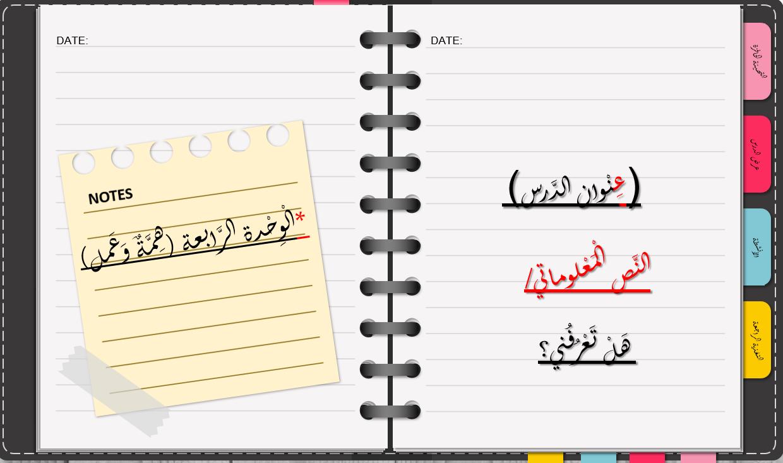 النص المعلوماتي هل تعرفني الصف الثاني مادة اللغة العربية - بوربوينت