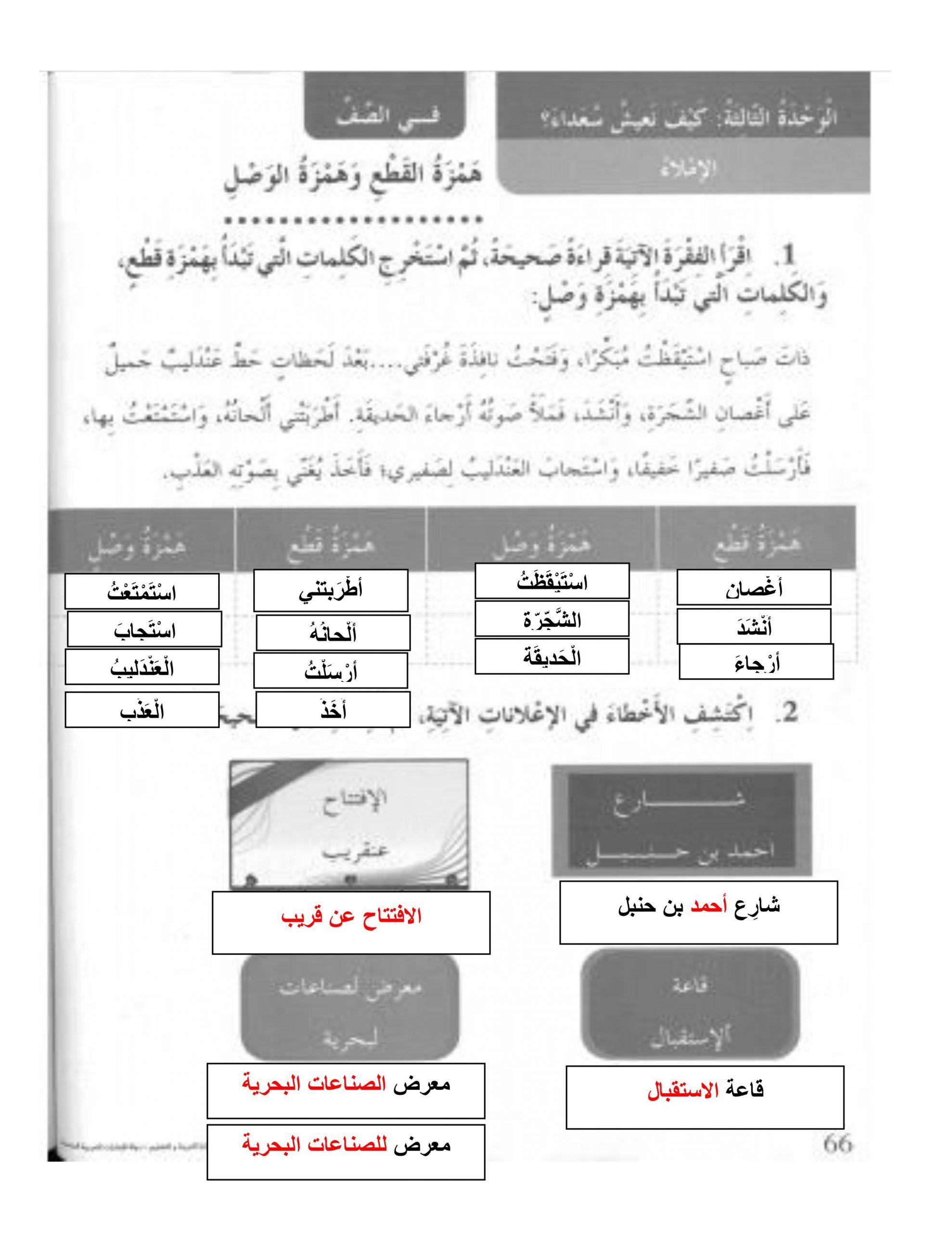 حل همزة الوصل وهمزة القطع كتاب النشاط الصف الثالث مادة اللغة العربية
